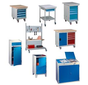Dessertes d'atelier avec ou sans portes, tiroirs, roulettes, ...